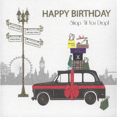 Taxi Shop Til You Drop Birthday Card