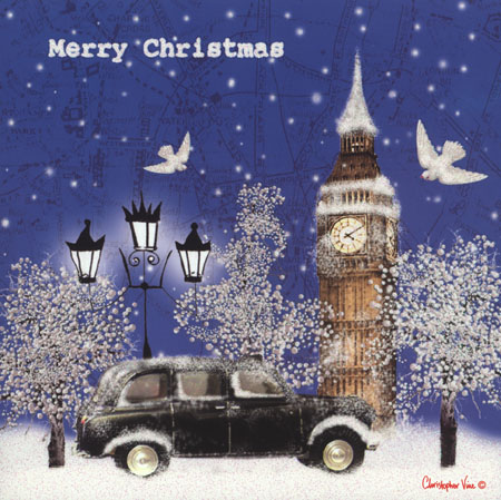 Christmas card taxi in the snow m4hsunfo
