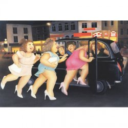 'Girls in Taxi' Greeting Card