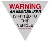 Warning - An immobiliser is fitted