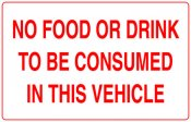 No Food / Drink Consumed In This Vehicle