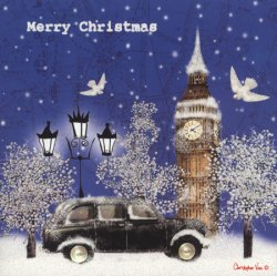 Christmas Card - Taxi in the Snow